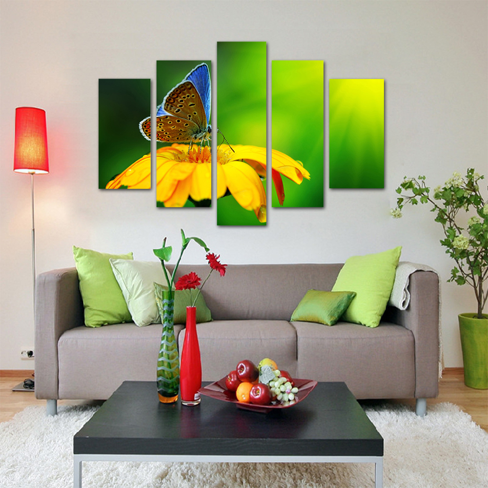Leading Tenphy HD Print 5 Canvas Art Painting Color Butterfly Living Room Decoration Spray Painting Mural Unframed Free Shipping