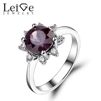 Leige Jewelry Lab Alexandrite Ring Sunflower Round Cut Engagement Promise Rings for Women Sterling Silver 925 Fine Jewelry