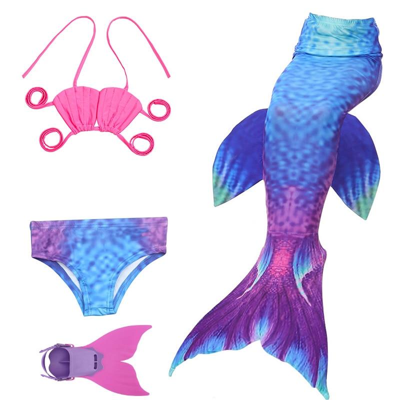 4 pièces/ensemble filles maillot de bain bikini enfants diamants queue de sirène avec Monofin Fin fille enfants maillot de bain maillot de bain queue de sirène Costume