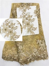 New Designs African French Lace Fabric High Quality Nigeria Net Stones Organza Embroidery Yellow Dress