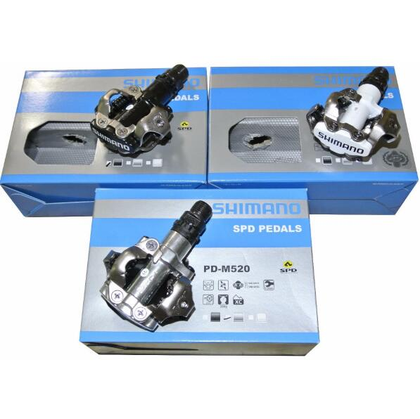 shimano PD-M520 MTB Mountain Bicycle Bike Parts Chrome-moly & Aluminum Self-Locking Clipless M520 Pedals SPD Cleats 3 Color shimano pd m540 self locking clipless spd bike pedal m540 mtb mountain bicycle padals with original pd22 cleats