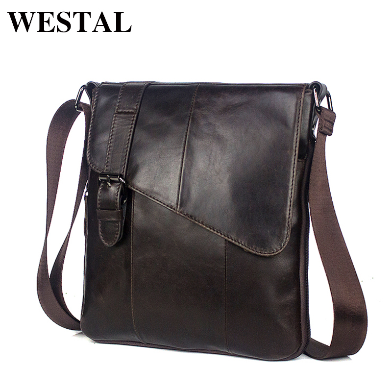 WESTAL Men Leather Messenger Bag Men's shoulder bag Genuine Leather Men's Small Casual Flap male Crossbody Bags For men 8240 westal casual messenger bag leather men shoulder crossbody bags for man genuine leather men bag small flap male bags bolsa new