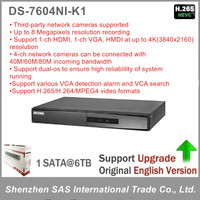 Hikvision Original English Version DS 7604NI K1 Embedded 4K NVR Support H 265 Up To 8MP