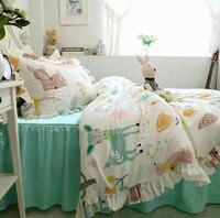 Милый мультфильм олень трепал двойной комплект постельного белья подростковый малыша, twin полный королева король хлопок домашний текстиль