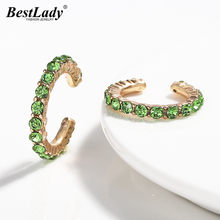 Best Lady Bohemian Crystal Hoop Earrings for Women Wedding Trendy Party Girls Gift Round Glass Statement Earrings Brand Design(China)