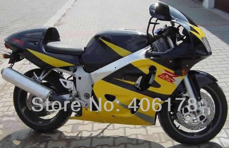 Pas cher GSXR600 96-00 kit de carénage Pour GSX-R750 GSX-R600 Noir jaune SRAD 1996 1997 1998 1999 2000 Moto Carénages