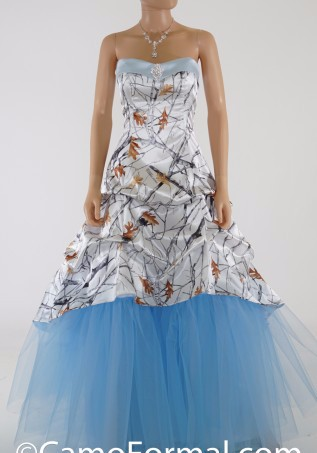 2017 Sweetheart White Camo Real Tree Wedding Dress Draped Sky Blue ...