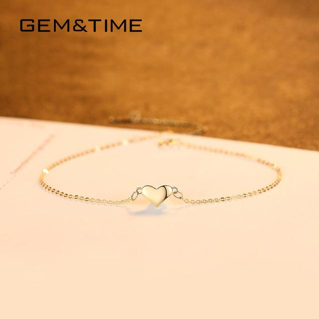 Cute Heart 14K Gold Bracelets & Charm 3