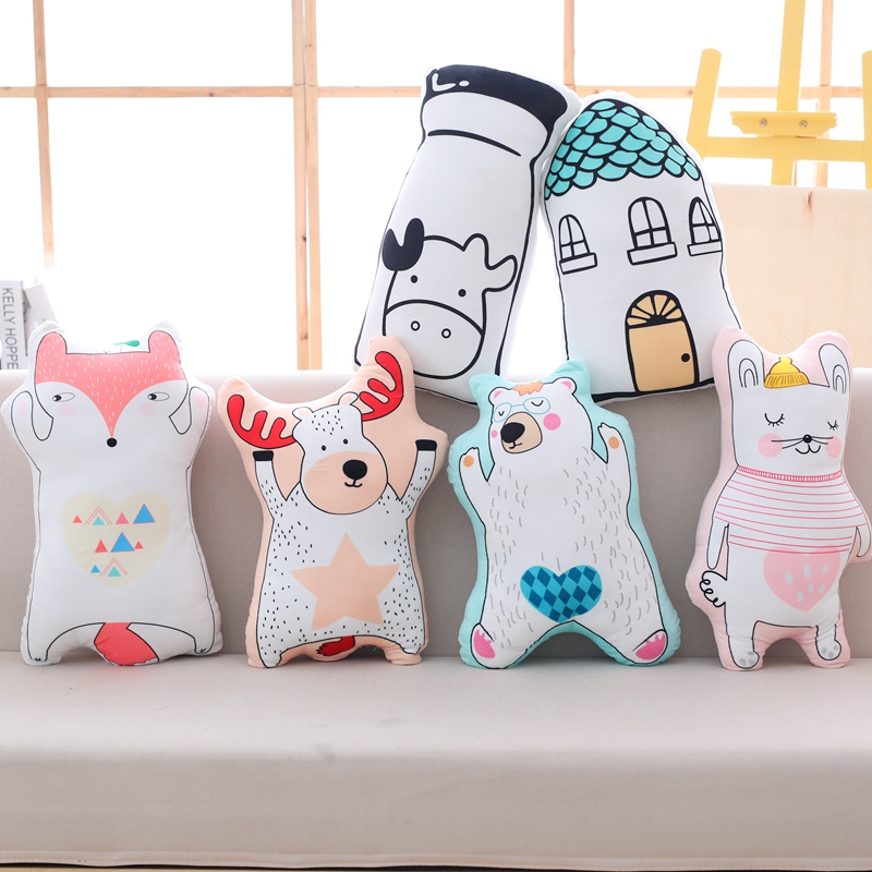 Lovely Cartoon Animal Plush Pillow Stuffed Fox, Cow, Cat, Bear Anime Plush Toys Kids Children Cute Kawaii Doll Gift Soft Cushion new style cute cotton cloth children s pillow hippos elephant plush toys pillow soft cushion birthday gift cushion