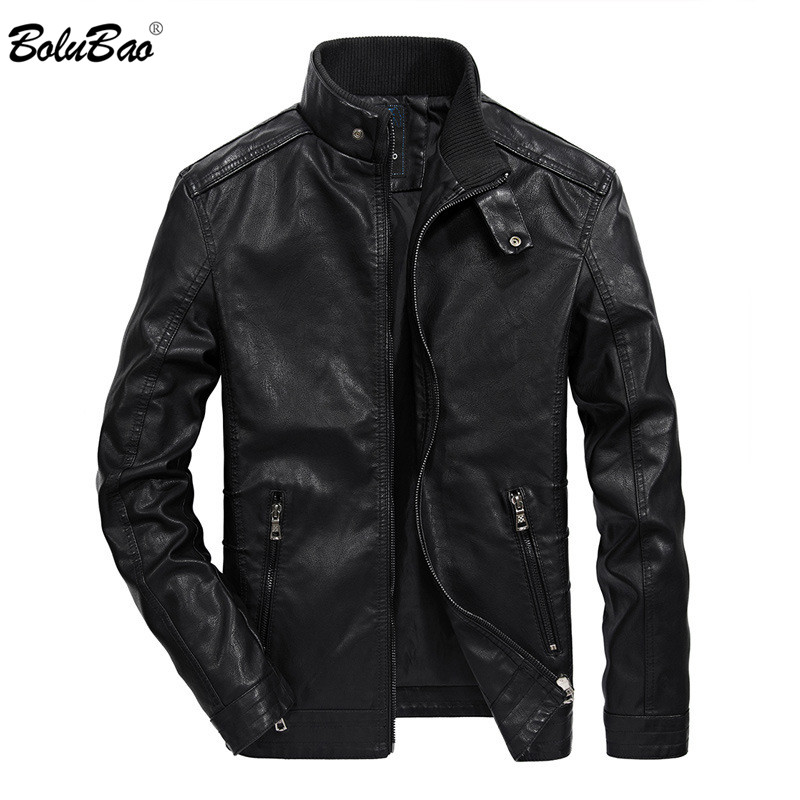 BOLUBAO Men Brand Faux Leather Coats Mens Fashion Locomotive PU Leather Jacket Coat New Male Casual Personality Leather Jackets