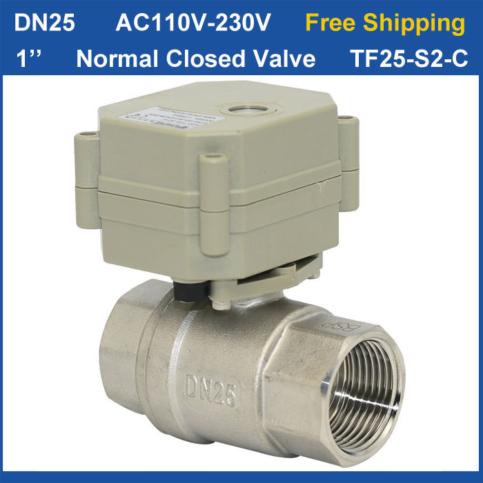 Free shipping DN25 AC110 230V 2 wires TF25 S2 C Normal Closed Valve BSP NPT 1