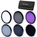 40.5mm UV CPL FLD ND2 ND4 ND8 Lens Filter Kit For Samsung NX1100 NX2000 Camera + Cleaning Pen + 6-slot Filter Case