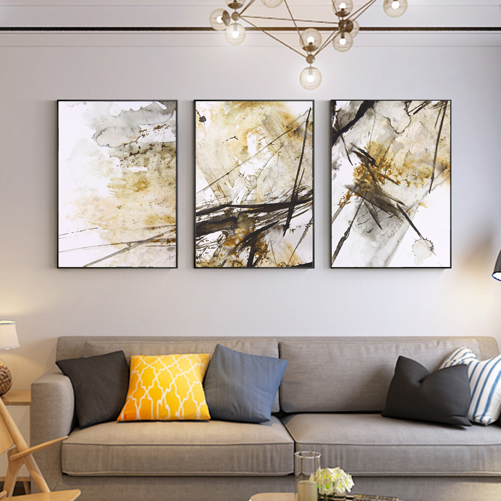 Us 3 97 40 offwatercolor realism abstract wall art canvas golden color posters minimalist painting modular pictures for living room home decor in