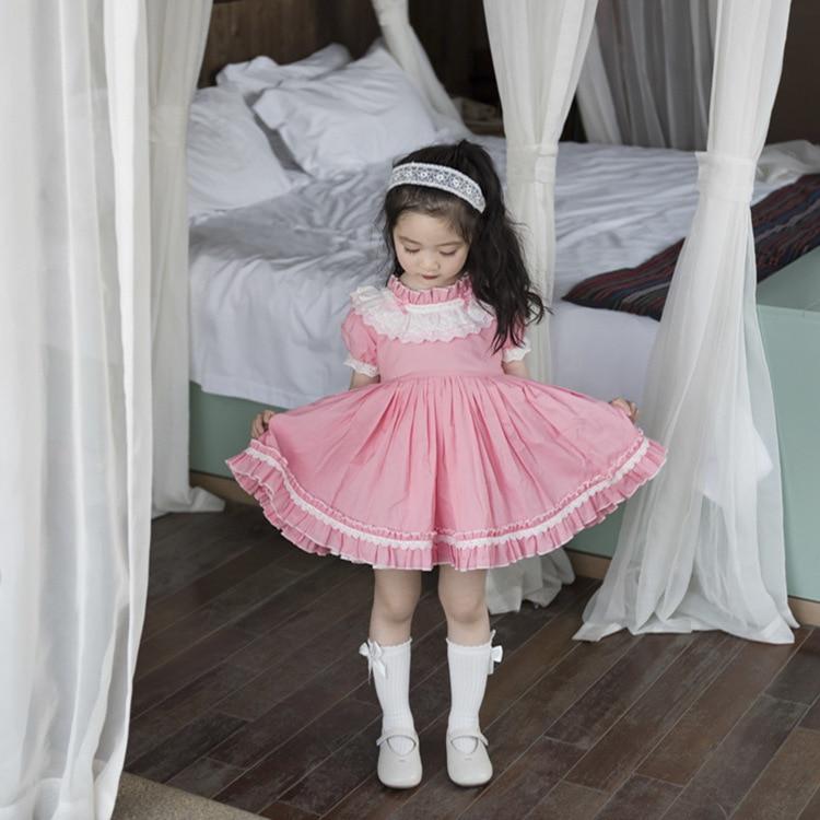 Pink Flower Girls Embroidered Cotton Dress Baby Toddler Kids Easter Wedding 736