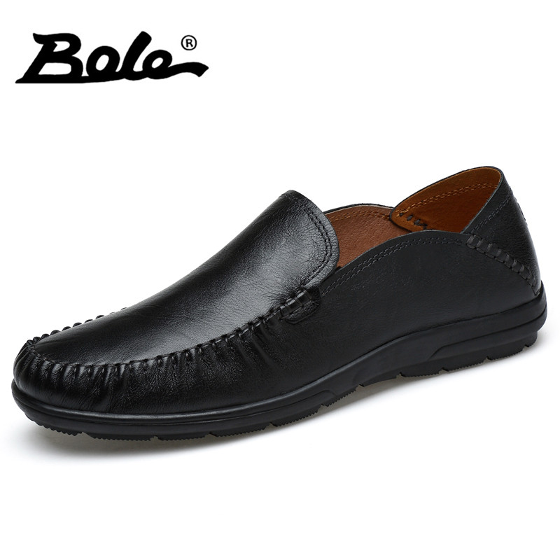 BOLE New Handmade Genuine Leather Men Shoes Designer Slip On Fashion Men Driving Loafers Men Flats Casual Shoes Large Size 37-47 handmade genuine leather men s flats casual luxury brand men loafers comfortable soft driving shoes slip on leather moccasins