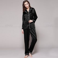 Женская пижама из 100% шелка, пижамный комплект, пижама, домашняя одежда XS s m l xl