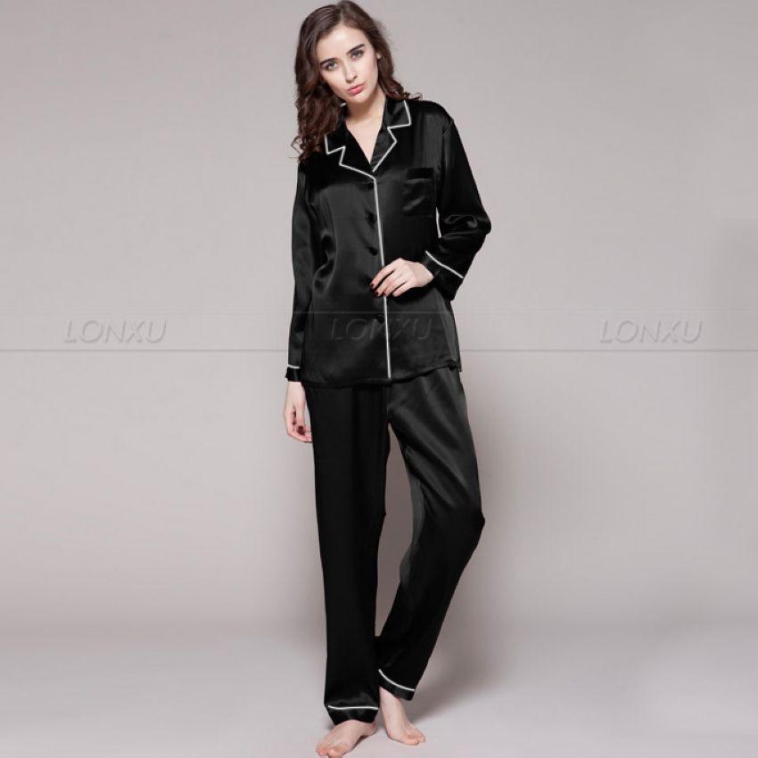Womens 100% Silk  Pajamas Set  Pajama Pyjamas  Set  Sleepwear Loungewear  XS  S  M  L  XL-in Pajama Sets from Underwear & Sleepwears