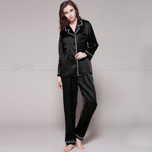 Image 1 - Womens 100% Silk  Pajamas Set  Pajama Pyjamas  Set  Sleepwear Loungewear  XS  S  M  L  XL