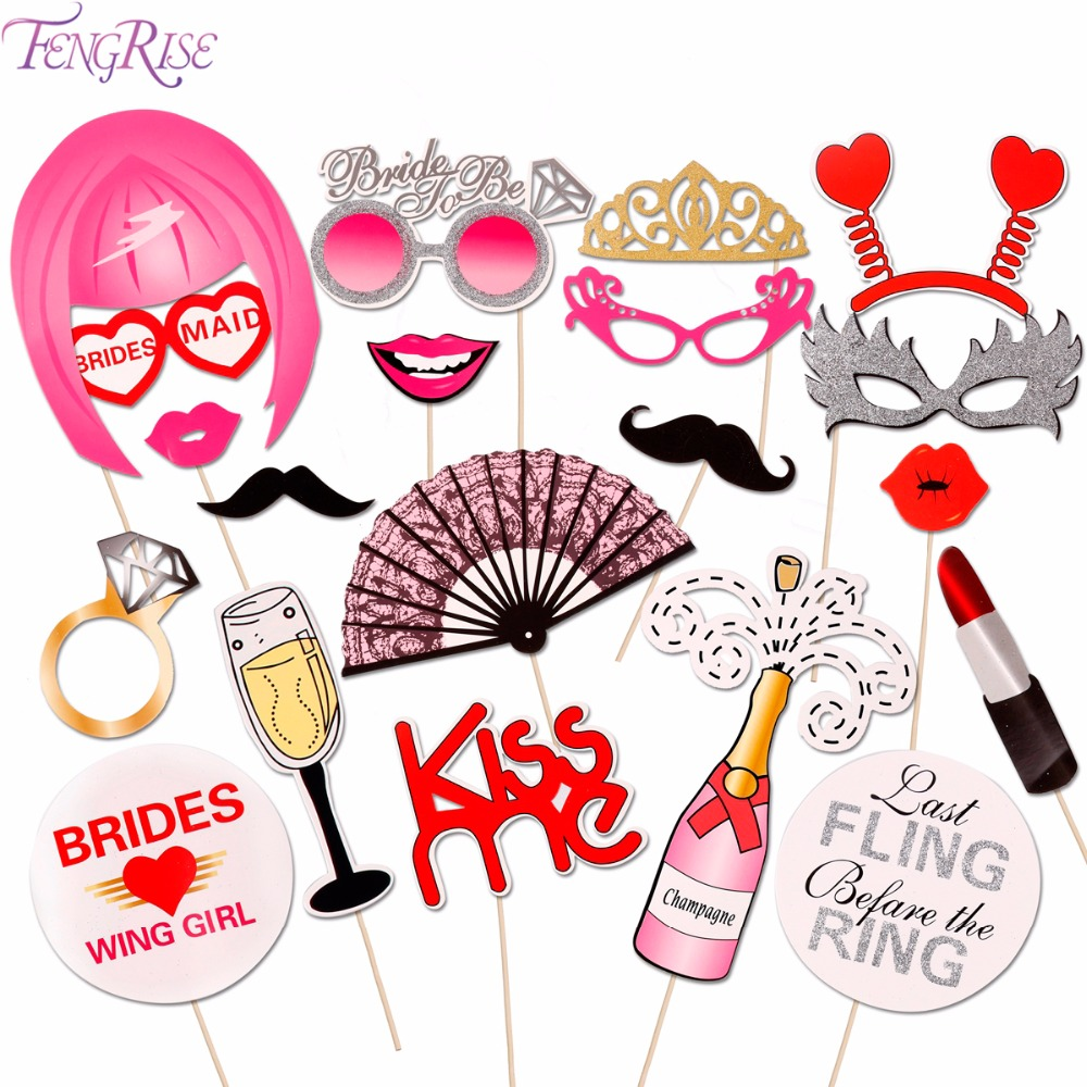 FENGRISE 20pcs Wedding Photo Booth Props Bachelorette Party Accessories Bridesmaid photobooth Hen Party Decoration Supplies in Photobooth Props from Home Garden