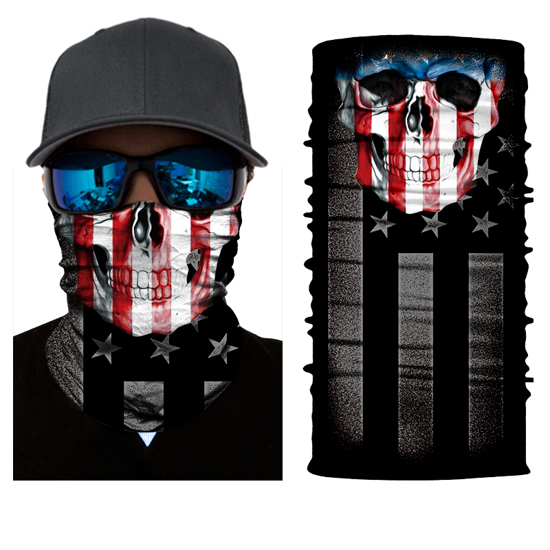 BJMOTO 2018 Cool Skull Magic Moto Head Face Mask Multi Wear Tube Bandana Durag Biker Motorcycle Scarf Outdoor Motocross Bandanas yellow multi wear tube top