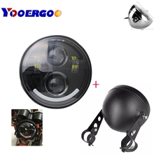 5.75 Inch Led Headlights with 5.75 Inch black Housing bucke For For Harley Davidson harley sportster 883