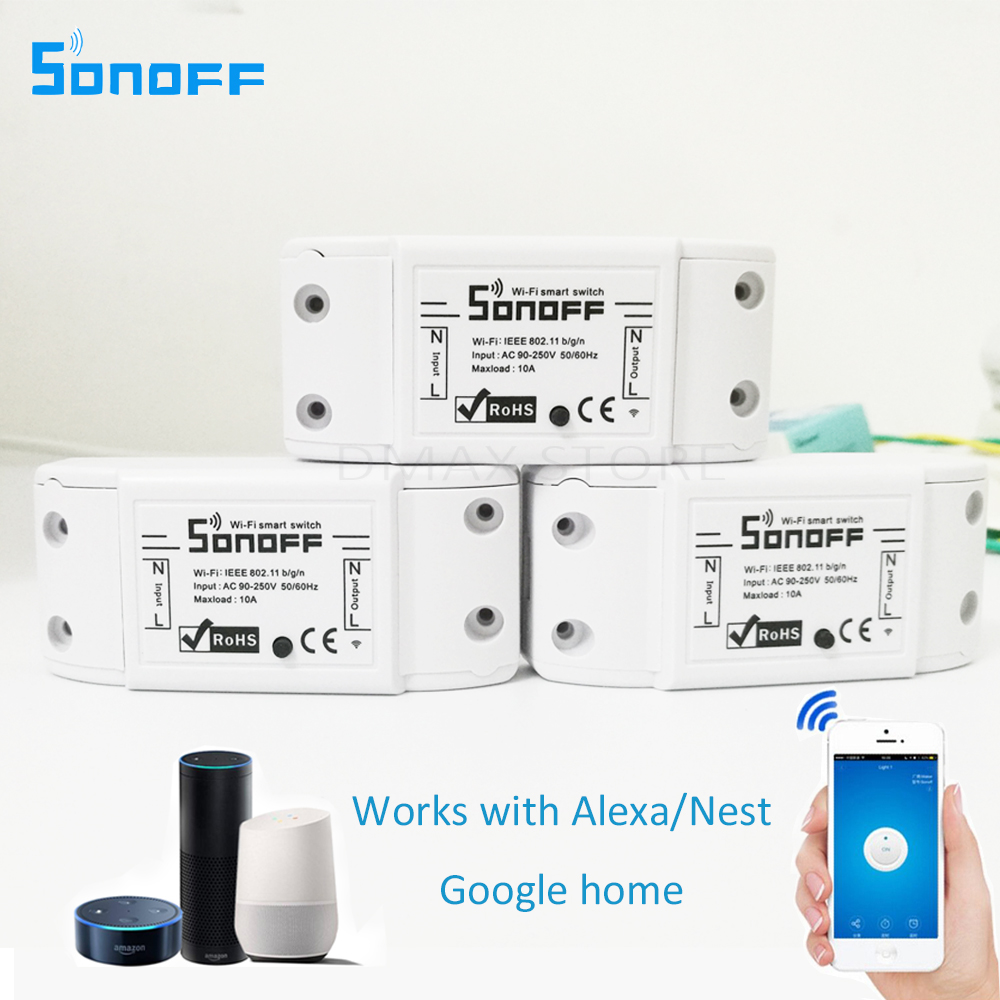 3PCS sonoff Smart Home Automation Module Wifi Switch Universal Timer Wireless Switch Remote Controller Via IOS Android 10A/2200W