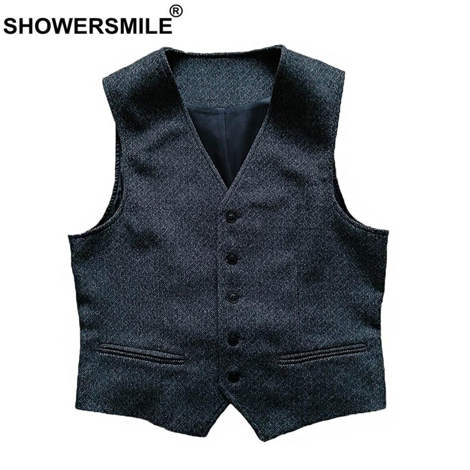 SHOWERSMILE Grey Man Wool Herringbone Vest Slim Fit Autumn Male Woolen Waistcoat Suit England Style Tweed Vintage Gilet Men 2018