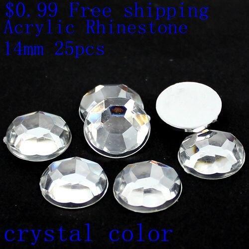 25pcs 18mm Mixed Colors Glass Stone Round Flatback Scrapbooking Beads DIY