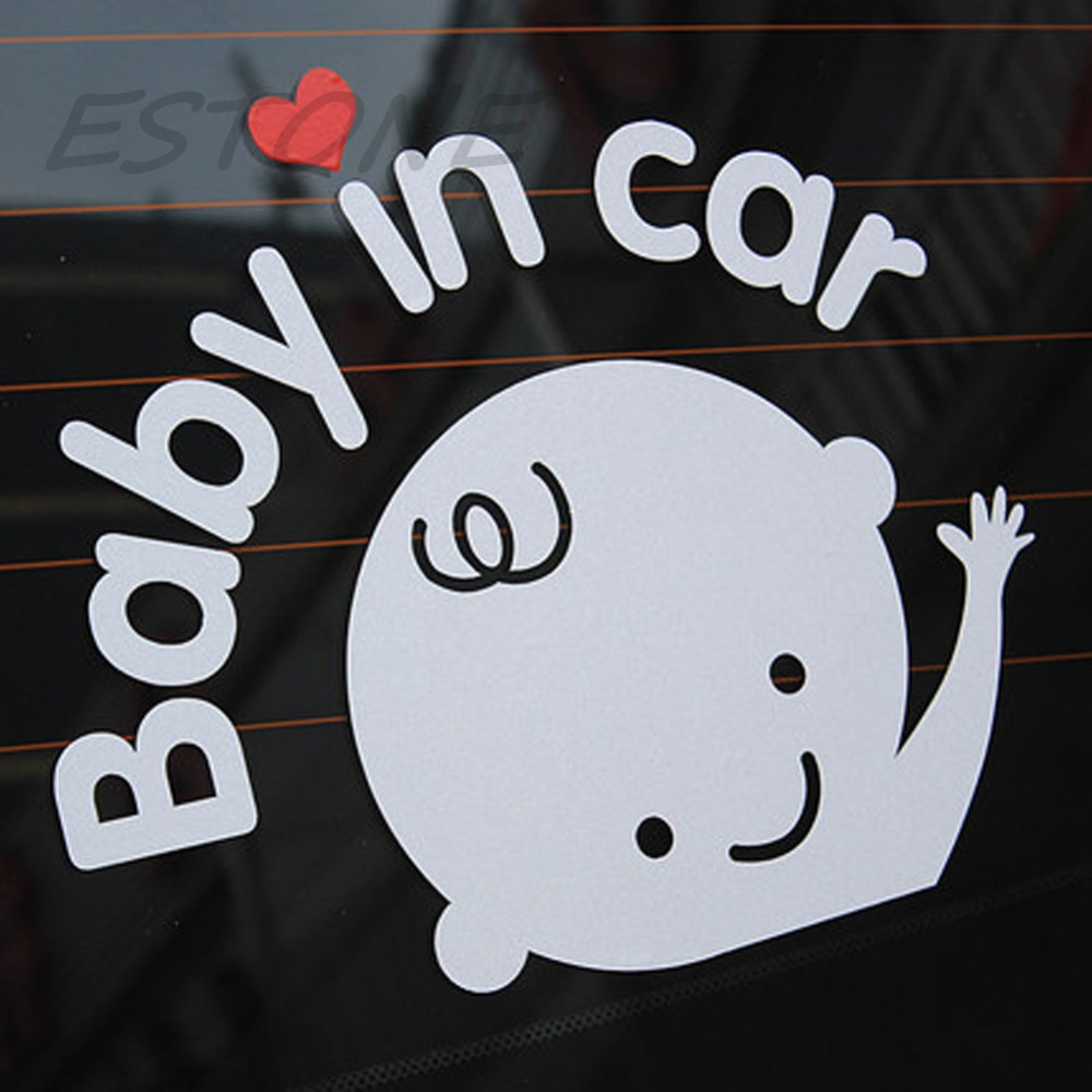 car styling baby in car waving baby on board safety sign cute car decal vinyl in decals. Black Bedroom Furniture Sets. Home Design Ideas