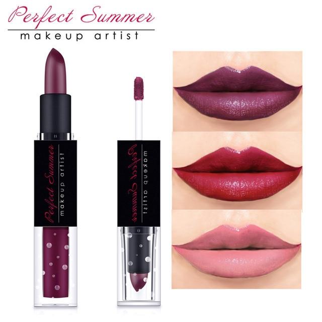 perfect summer high quality makeup non stick cup lip gloss matte lipstick 2 in1