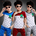 2015 summer style boys clothing set fashion Harem pants set boys clothes letters print short sleeve 100% cotton sport suit