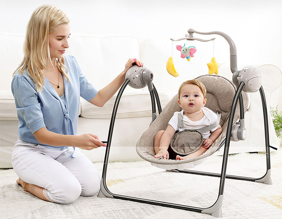 Details about Baby Swing Baby Rocking Chair Electric Baby Cradle With Remote Control Cradle