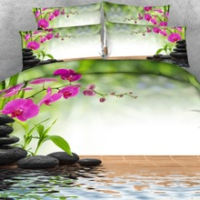 Royal Linen Source 4 Parts Per Set Beautiful Spa style orchid and bamboo 3d bed Sheet set with Bed Cover Blanket cover цена
