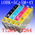 25 pcs  Free shipping For epson T1261 T1262 T1263 T1264 compatible ink cartridge For EPSON Workforce 630 633 635 60 840 printer
