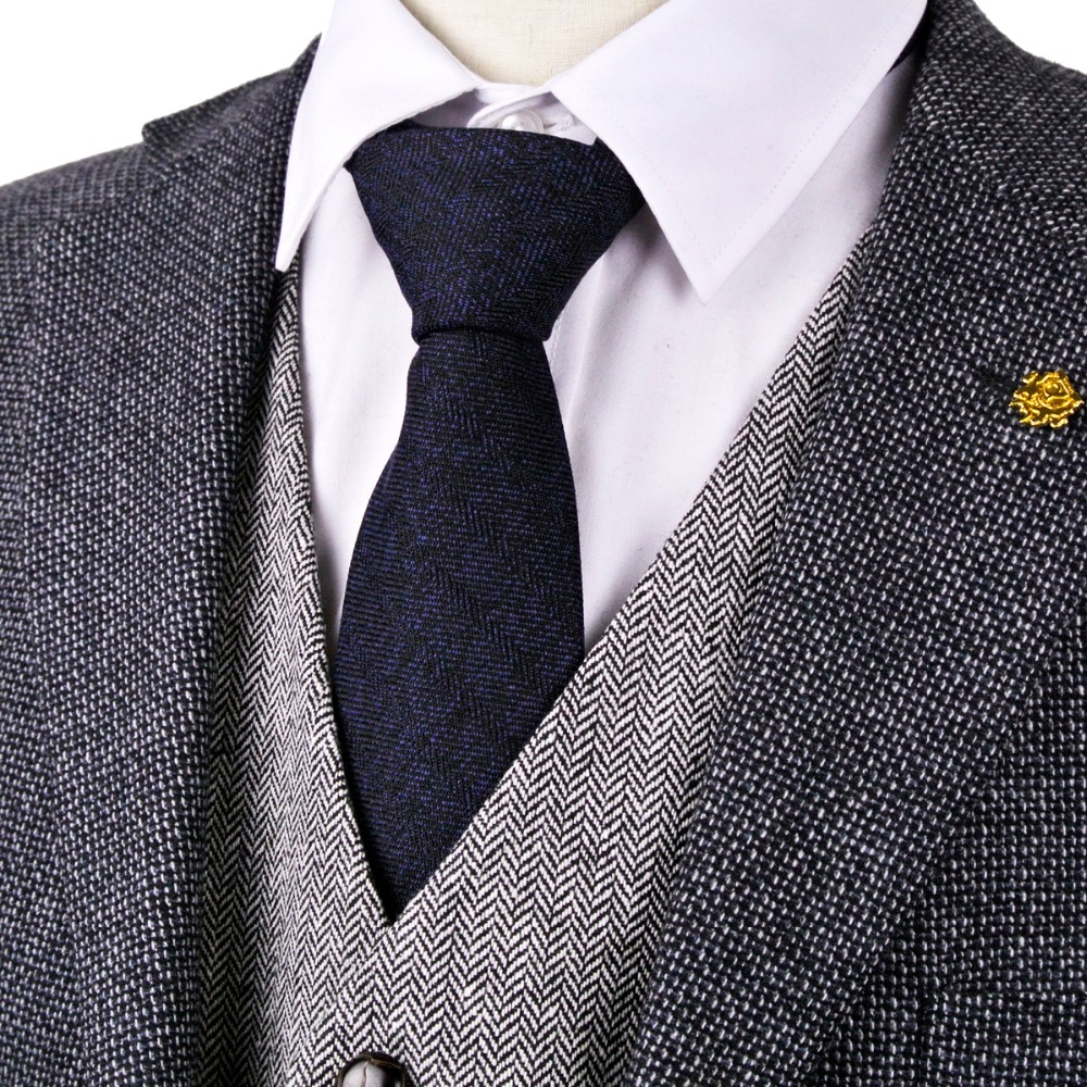 """H34 Tmavě modrá černá rybí Tweed 7cm vlněná směs 2,76 """"pánská kravata kravaty elegantní zbrusu nový oblek dárek pro muže"""