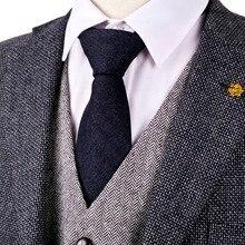 H34 Dark Blue Black Herringbone Tweed 7cm Wool Blend 2.76