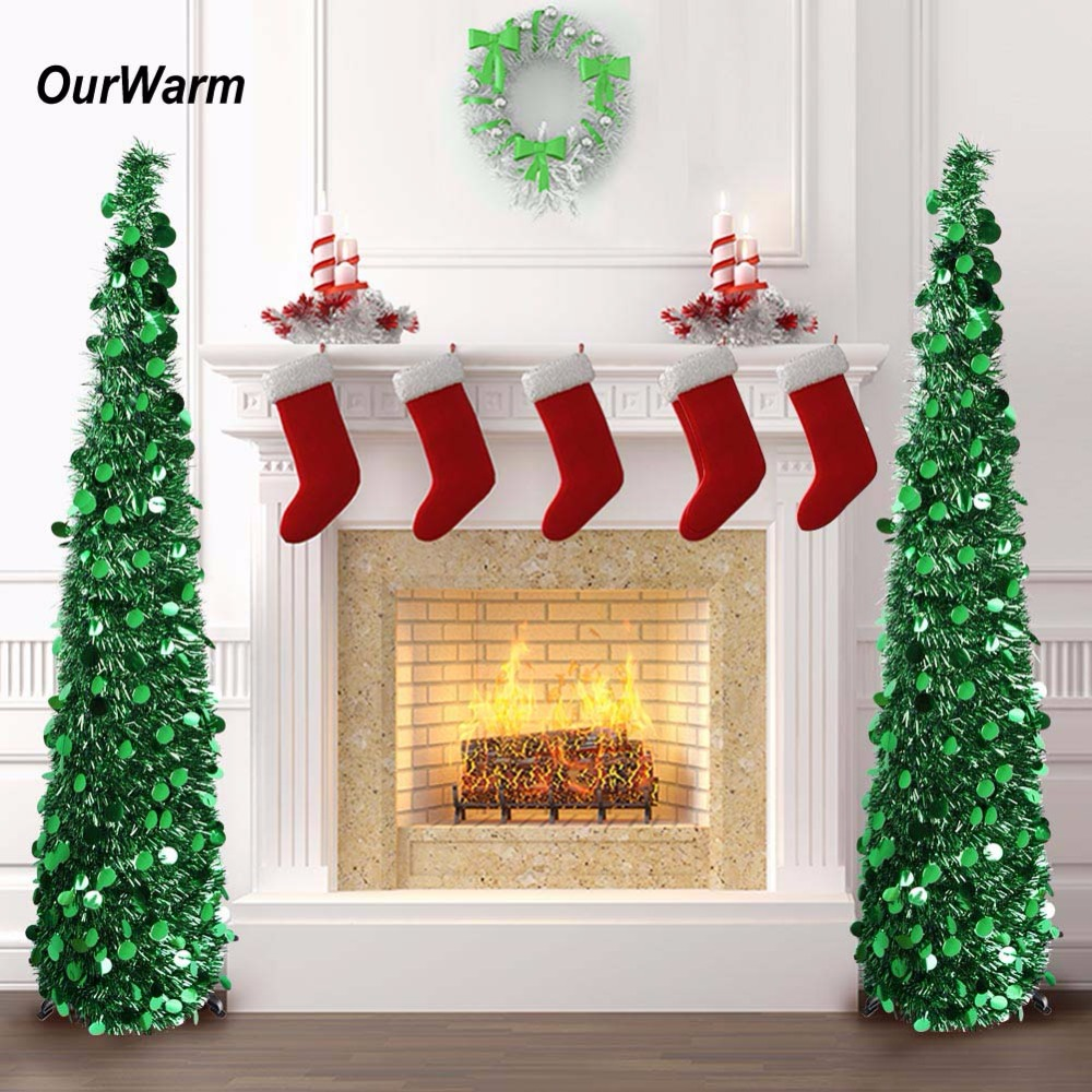 ourwarm new year artificial tinsel christmas tree 5ft pop up fake christmas tree christmas decorations for home arbol de navidad in tree skirts from home