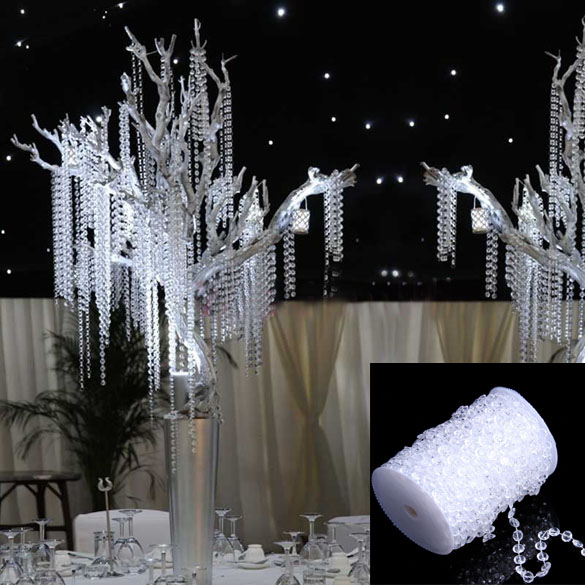 1 Roll of Beads 99FT 30M Octagonal Acrylic Crystal Beads Party Supplie DIY Romantic Window Curtain Wedding Decoration