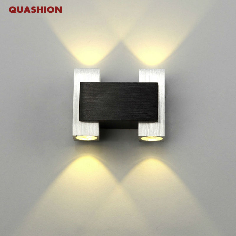Morden Up And Down Led Wall Sconce 2 Heads Aluminum Bedroom Bedside Reading Wall Lamps Square Background Wall Mounted Lighting