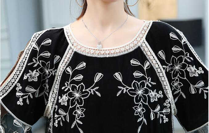 women's summer blouses 2019 womens Clothing flare sleeve embroidery white blouse women shirts womens tops and blouses 4506 50