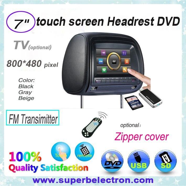 7 pouces voiture appuie-tête lecteur DVD/lcd moniteur avec USB/SD, jeu 32 bits, IR, FM, TV (en option), écran tactile et écran numérique, pour voiture