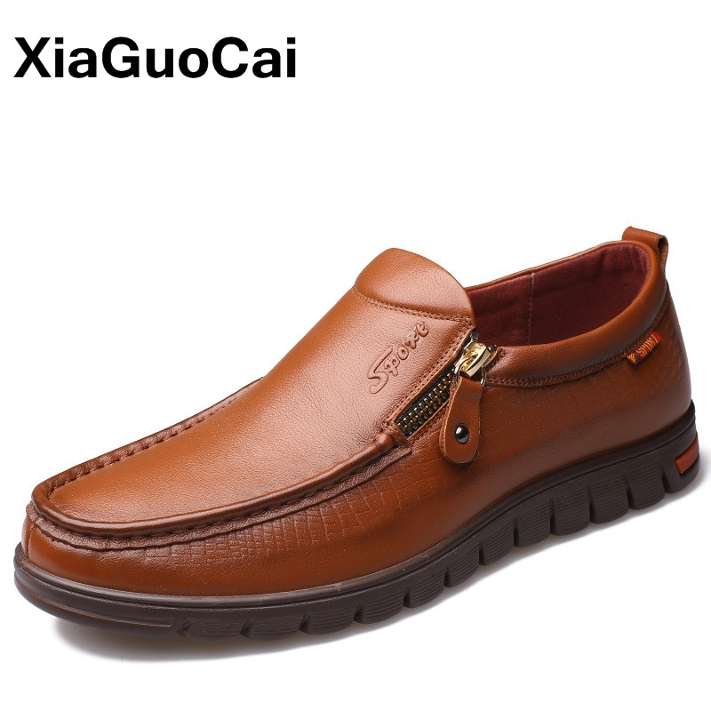 XiaGuoCai High Quality 100% Genuine Leather Men's Casual Shoes Breathable Comfortable Slip-On Business Men Boat Shoes X204 top brand high quality genuine leather casual men shoes cow suede comfortable loafers soft breathable shoes men flats warm