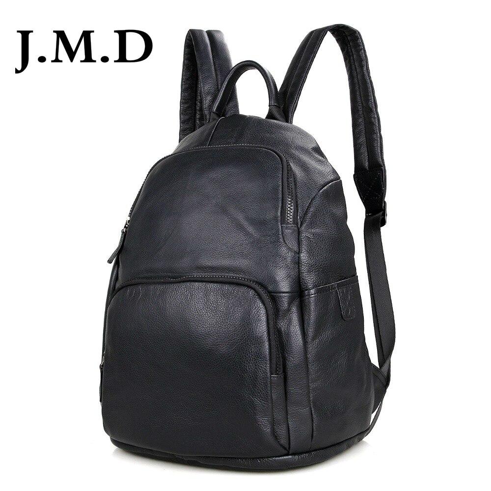 J.M.D Genuine Leather Unisex Laptop Backpack Black Preppy Style School Backpacks Satchel Bag For Pad Travel Bag 2005A