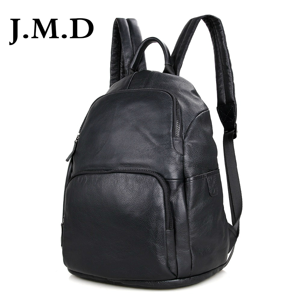 J.M.D Genuine Leather Unisex Laptop Backpack Black Preppy Style School Backpacks Satchel Bag For Pad Travel Bag 2005A