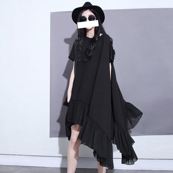 Di Donne Increspature Modo Il Vestido Chiffon Size Personalizza Irregolari Bellezza Del Abbigliamento Nero Nero multi Abiti 2017 Nuova Plus Delle Vestito Estate v0wnm8N