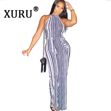 XURU new women's fashion digital striped crew neck jumpsuit with belt zip pleated jumpsuit flamingo print striped box pleated dress with belt