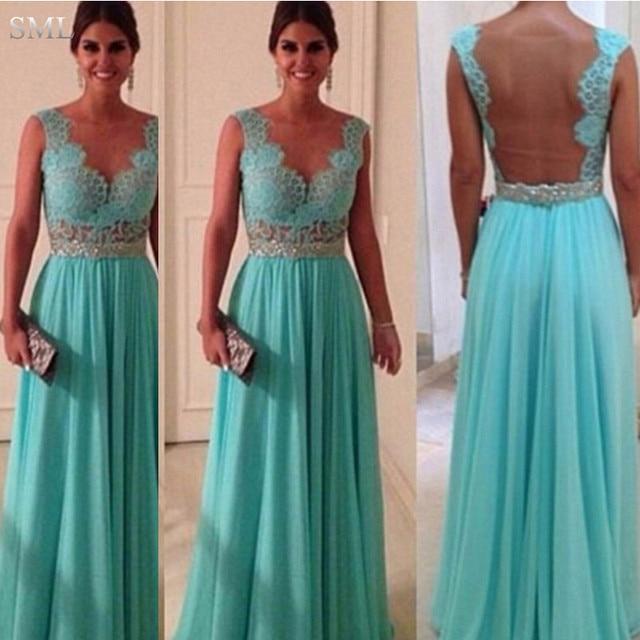 9916f57c9 SML Barato Turquesa Vestidos de Noche Sheer Cuello Volver Opacidad Azul  Turquesa Largo Vestido de Fiesta