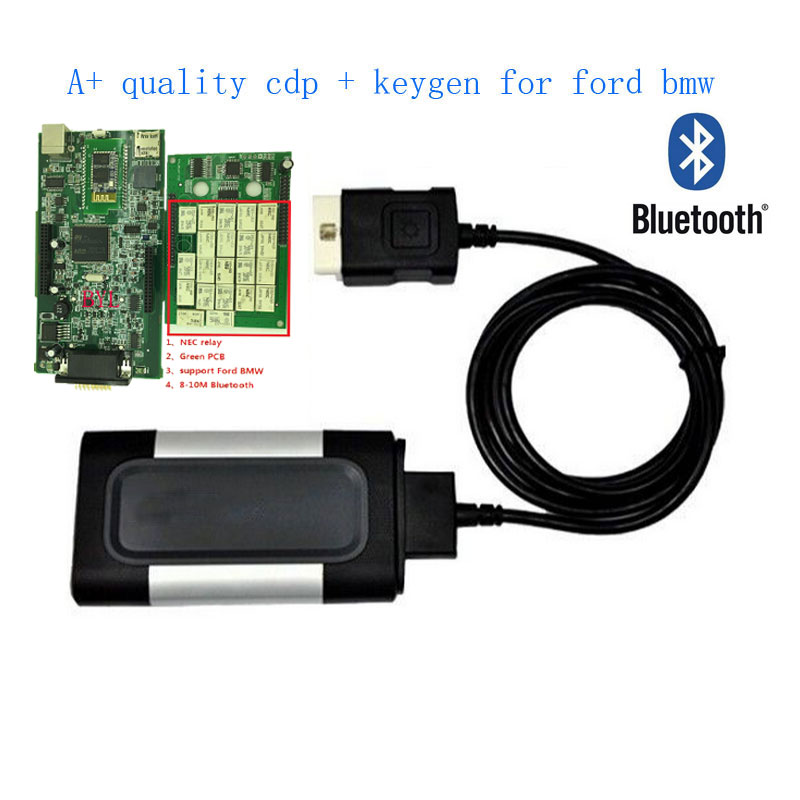 New Green board quality A 2015 R3 with key For autocom CDP Pro Plus with bluetooth OBD2 Scanner car Diagnostic Tool single board pcb obd2 interface obdii diagnostics vd tcs cdp bluetooth usb cable full 8car cables for car and truck generic 3in1