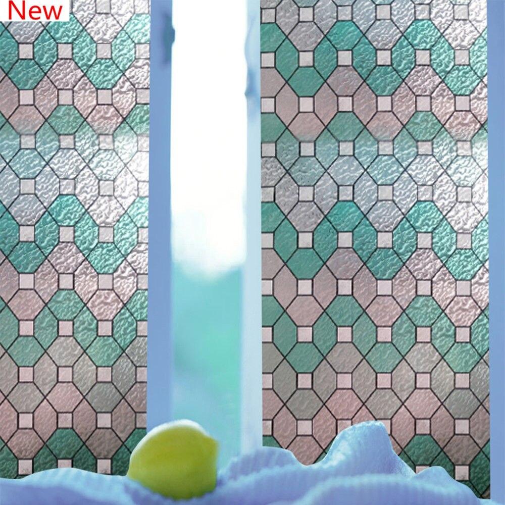 92 cm * 1000 cm 2D statique fenêtre Film vitrail Film étanche verre décor pour salle de bain 36''x33ft en gros