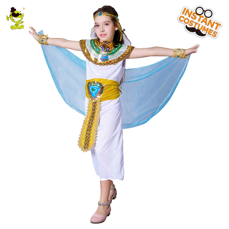 Egyptian Cleopatra Costumes Children Pretty Egypt Princess Outfits Noble Egypt Queen Dress for Girl Masquerade Party Performance